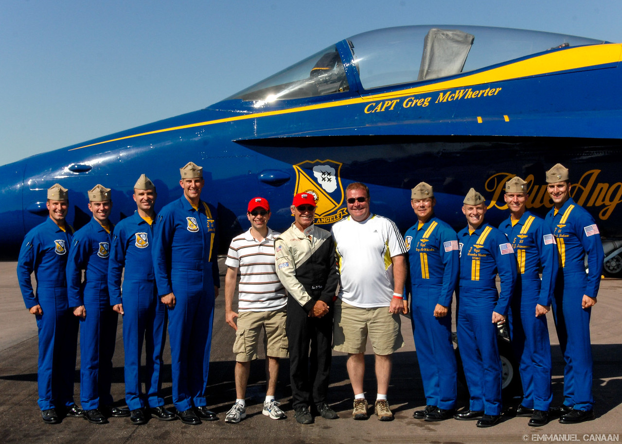 At center are Emmanuel Canaan, Sean D. Tucker, and Rick King.  Photo Credit: The Blue Angels