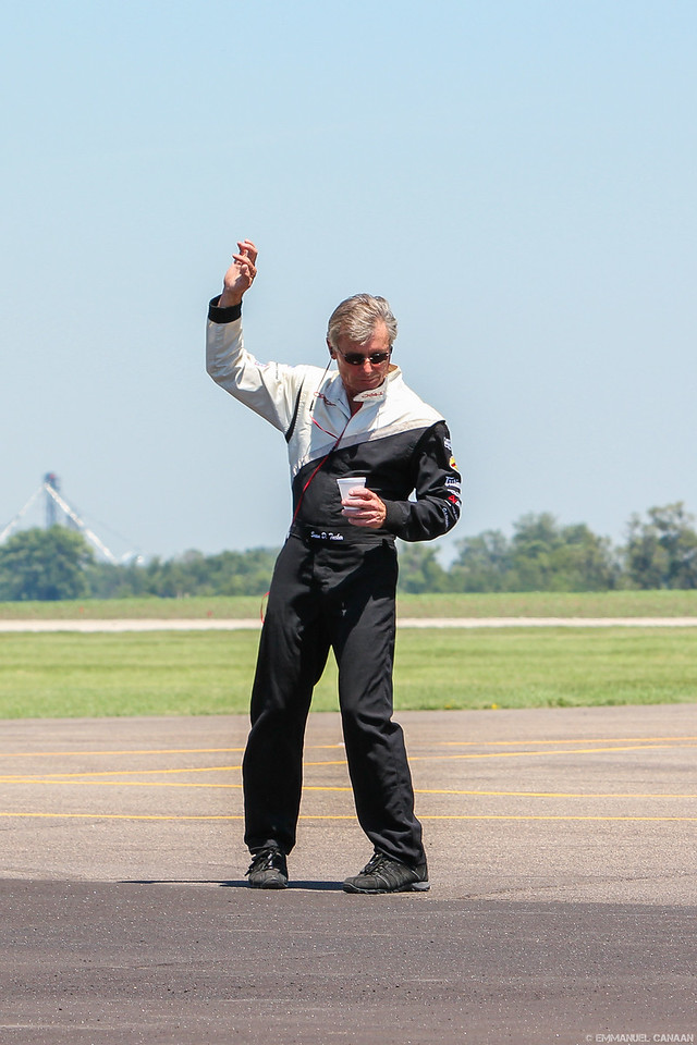 Sean D. Tucker going over the maneuvers for his performance.