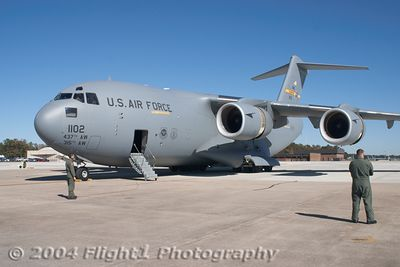 The C-17 Globemaster II from Charleston AFB, SC on the Ramp at Seymour Johnson AFB in Goldsboro, NC; flown by a crew from the 315th AW
