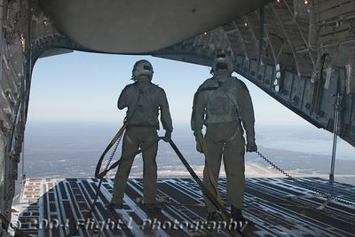 The loadmasters open the rear loading ramp while in flight over the NC coast and Cherry Point Air Station