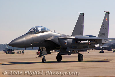 An operational F-15E taxis in