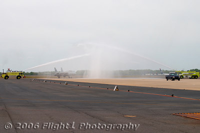 A water cannon salute................
