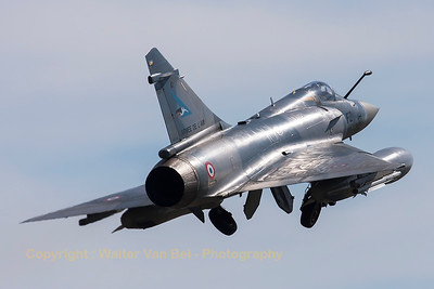 A French Air Force Mirage 2000-5F (116-FZ; 41; cn197), performing an overshoot on RWY20 at LFSO, during exercise Green Shield.