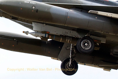 "Close-up of a laser-guided bomb (inert training round) on the centerline hard-point of a French Air Force Mirage 2000D (133-XI; 661; cn535), on final for RWY20 at LFSO, during exercise ""Green Shield 2014""."