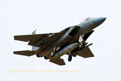 "A Royal Saudi Air Force F-15C (214; cn584/C112) recovers to Nancy-Ochey, after a dissimilar air combat sortie with French Air Force Mirage 2000-5F's, during exercise ""Green Shield""."