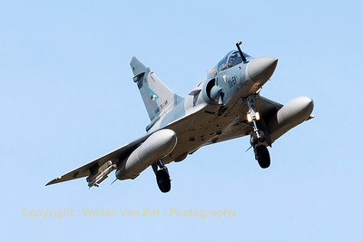 "A French Air Force Mirage 2000-5F (116-EW; 48; cn221), turning final for RWY20 at LFSO, during exercise ""Green Shield""."