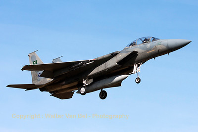 "A Royal Saudi Air Force F-15D (233; cn546/D015) recovers to Nancy-Ochey, after a dissimilar air combat sortie with French Air Force Mirage 2000-5F's, during exercise ""Green Shield""."