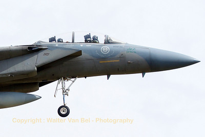 "Close-up of a Royal Saudi Air Force F-15D (232; cn570/D017) recovering to Nancy-Ochey, after a dissimilar air combat sortie with French Air Force Mirage 2000-5F's, during exercise ""Green Shield 2014""."