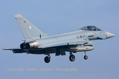 A German Air Force Eurofighter EF-2000 Typhoon (30+97; cnGS075) from TLG31, photographed during landing (RWY05) at Leeuwarden Air Base (FF2014).
