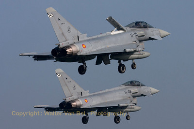 Two Spanish Air Force Typhoons from Ala 11 (C.16-30/11-10 & C.16-29/11-08), photographed during a formation landing (RWY05) at Leeuwarden Air Base (FF2014).