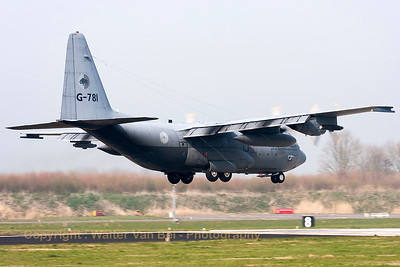 "A Royal Netherlands Air force C-130H (G-781; cn382-4781; ""Bob van der Stok"") from 336Sqn, on final for RWY05 at Leeuwarden Air Base, after another mission during FF2014."