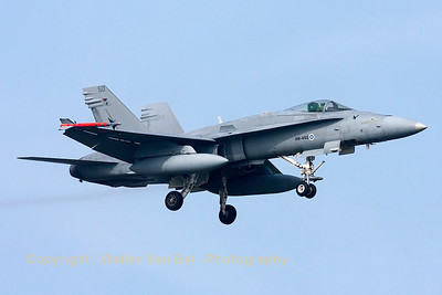 A Finnish Air Force F-18C from HävLLv31 (HN-450; cn1480/FNC050), photographed during a landing (RWY05) at Leeuwarden Air Base (FF2014).
