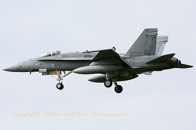 A Finnish Air Force F-18C from HävLLv31 (HN-444; cn1464/FNC044), photographed during a landing (RWY23) at Leeuwarden Air Base (FF2014).