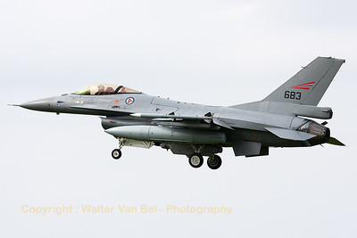 A Norwegian Air Force F-16AM (683; cn6K-55), photographed during landing (RWY23) at Leeuwarden Air Base (FF2014).