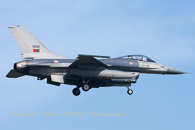 Portugese Air Force F-16AM (15132; cnM17-16/61-626) from Esq201/301 on final for RWY05 at Leeuwarden Air Base, after another mission during FF2014.