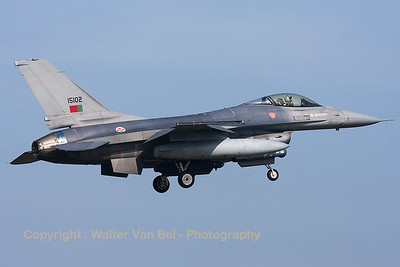 Portugese Air Force F-16AM (15102; cnAA-02) from Esq201/301 on final for RWY05 at Leeuwarden Air Base, after another mission during FF2014.