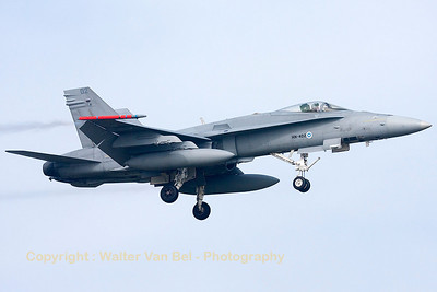 A Finnish Air Force F-18C from HävLLv31 (HN-402; cn1291/FNC002), photographed during a landing (RWY05) at Leeuwarden Air Base (FF2014).