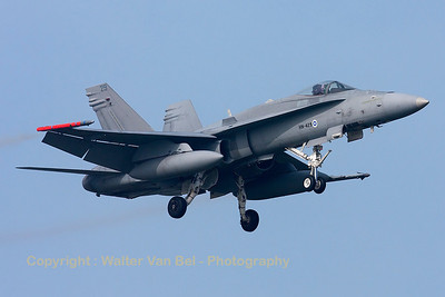 A Finnish Air Force F-18C from HävLLv31 (HN-429; cn1431/FNC029), photographed during a landing (RWY05) at Leeuwarden Air Base (FF2014).