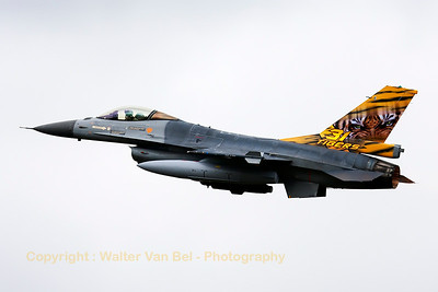 "Belgian Air Force F-16AM (FA-106; cn6H-106) from 31Sqn at ""KB"", on take-off for another mission during the Nato Tiger Meet 2014 at Schleswig-Jagel AFB."