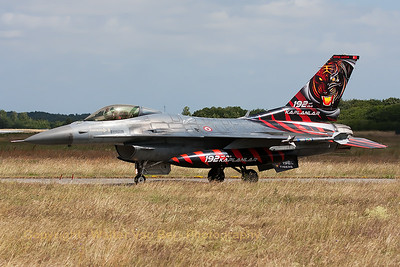 Turkish Air Force F-16CJ (94-0090; cnHC-54) from 192Filo, on the taxi-track at the end of another mission during the Nato Tiger Meet 2014 at Schleswig-Jagel AFB.