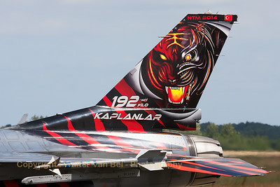 Tail close-up of this Turkish Air Force F-16CJ (94-0090; cnHC-54) from 192Filo, on the taxi-track at the end of another mission during the Nato Tiger Meet 2014 at Schleswig-Jagel AFB.