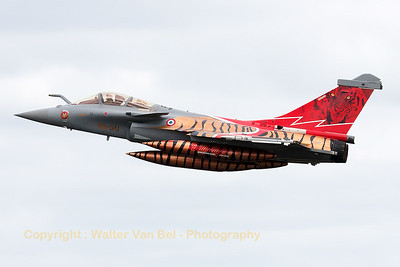 "French Air Force Rafale C (113-GU; cn142) from EC1/7 ""Provence"", at the start of another mission during the Nato Tiger Meet 2014 at Schleswig-Jagel AFB. Note the ""tiger""-backseater!"