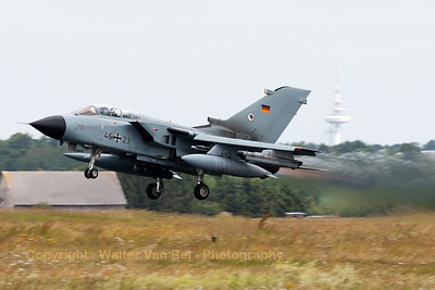 German Air Force Tornado ECR (46+23; cn817/GS256/4323) from TLG51 on take-off for another mission during the Nato Tiger Meet 2014 at Schleswig-Jagel AFB.