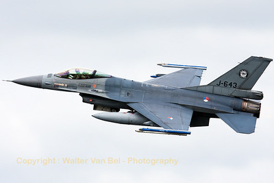 Royal Netherlands Air Force F-16AM (J-643; cn6D-75) from 313Sqn, on take-off for another mission during the Nato Tiger Meet 2014 at at Schleswig-Jagel AFB.