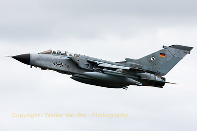 German Air Force Tornado ECR (46+36; cn851/GS269/4336) from TLG51 on take-off for another mission during the Nato Tiger Meet 2014 at at Schleswig-Jagel AFB.