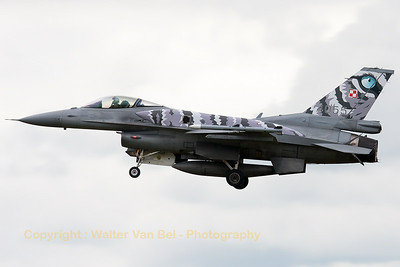 This Polish Air Force F-16C-52 (4055; cnJC-16) from 31.BLT is seen here on final for RWY23, showing its special c/s for the NTM2014, at Schleswig-Jagel Air Base.