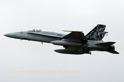 Swiss Air Force F/A-18C (J-5011; cn1351/SFC011) from FlSt11, with Tiger-tail, on take-off for another mission during the Nato Tiger Meet 2014 at Schleswig-Jagel AFB.