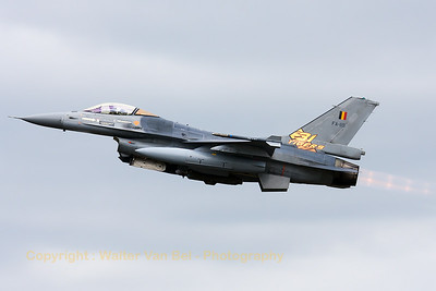 "Belgian Air Force F-16AM (FA-119; cn6H-119) from 31Sqn at ""KB"", on take-off for another mission during the Nato Tiger Meet 2014 at Schleswig-Jagel AFB."