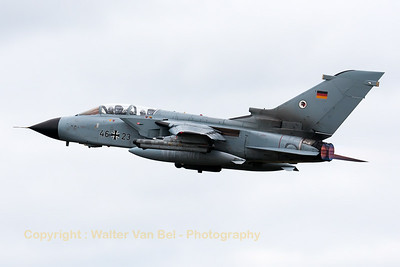 German Air Force Tornado ECR (46+23; cn817/GS256/4323) from TLG51 on take-off for another mission during the Nato Tiger Meet 2014 at at Schleswig-Jagel AFB.
