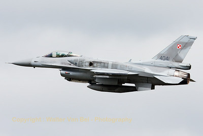 A Polish Air Force F-16C-52 (4041; cnJC-2), on take-off for another mission during the Nato Tiger Meet 2014 at Schleswig-Jagel AFB.
