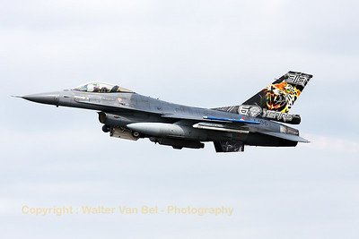 Royal Netherlands Air Force F-16AM (J-196; cn6D-103) from 313Sqn, on take-off for another mission during the Nato Tiger Meet 2014 at at Schleswig-Jagel AFB.