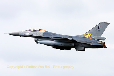 "Belgian Air Force F-16AM (FA-107; cn6H-107) from 31Sqn at ""KB"", on take-off for another mission during the Nato Tiger Meet 2014 at Schleswig-Jagel AFB."