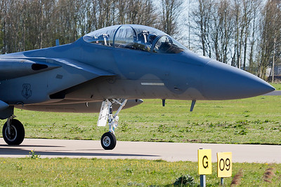 "A USAF F-15D Eagle (85-0132; cn964/D058) from the 123rd Fighter Squadron ""Redhawks"" Oregon ANG, is seen taxiing to the active runway, at the start of another mission during Frisian Flag 2015 at Leeuwarden Air Base."