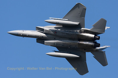 A USAF F-15C Eagle (86-0161; cn1008/C389 ) from the Florida ANG 125th Fighter Wing, is seen here banking very hard during take-off from RWY23 at Leeuwarden Air Base (FF2015).
