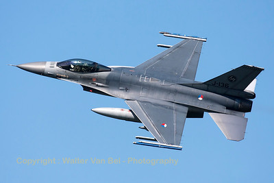 Royal Netherlands Air Force F-16AM (J-136; cn6D-126), nicely banking on take-off from RWY23 at Leeuwarden AFB, at the start of another FF2015 mission.