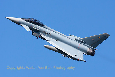 German Air Force Eurofighter EF-2000 Typhoon S (30+75; cnGS056) from TLG-31 based at Norvenich AFB, nicely banking on take-off from RWY23 at Leeuwarden AFB, at the start of another FF2015 mission.