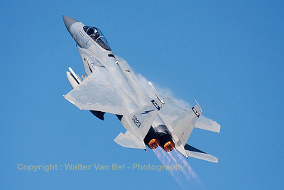 """A USAF F-15C Eagle (81-0023; cn740/C206), seen here during a blasting take-off from RWY23 at Leeuwarden AFB, at the start of a mission during FF2015. This F-15C belongs to the 125th Fighter Wing, Florida Air National Guard, Jacksonsville, Fla., which leads the first ANG Theater Security Package (TSP) to deploy in support of """"Operation Atlantic Resolve""""."""
