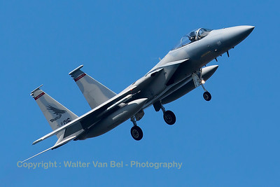 "A USAF F-15C Eagle (82-0016; cn829/C247) from the 123rd Fighter Squadron ""Redhawks"" Oregon ANG, is seen here turning final towards RWY23 at Leeuwarden Air Base. This F-15C belongs to the 125th Fighter Wing, which leads the first ANG Theater Security Package (TSP) to deploy in support of ""Operation Atlantic Resolve""."