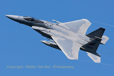 "A USAF F-15C Eagle (84-0031; cn943/C334) from the 123rd Fighter Squadron ""Redhawks"" Oregon ANG, is seen here nicely banking during take-off from RWY23 at Leeuwarden Air Base (FF2015)."