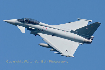 German Air Force Eurofighter EF-2000 Typhoon S (30+97; cnGS075) from TLG-31 based at Norvenich AFB, nicely banking on take-off from RWY23 at Leeuwarden AFB, at the start of another FF2015 mission.