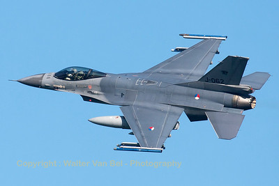Royal Netherlands Air Force F-16AM (J-062; cn6D-145), nicely banking on take-off from RWY23 at Leeuwarden AFB, at the start of another FF2015 mission.