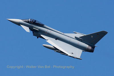 German Air Force Eurofighter EF-2000 Typhoon S (31+04; cnGS0080) from TLG-31 based at Norvenich AFB, nicely banking on take-off from RWY23 at Leeuwarden AFB, at the start of another FF2015 mission.