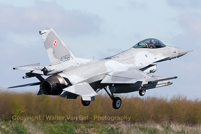 Polish Air Force F-16C (4066; cnJC-27) recovering to Leeuwarden AFB, after another mission during Frisian Flag 2015.