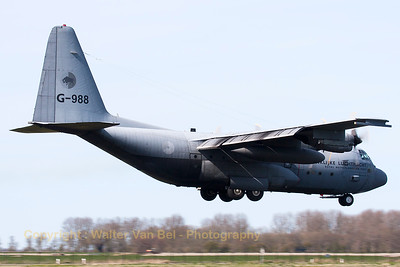 """Willem den Toom"", a Royal Netherlands Air Force C-130H (G-988; cn382-4988), on short final at Leeuwarden Air Base, at the end of another FF2015 mission."