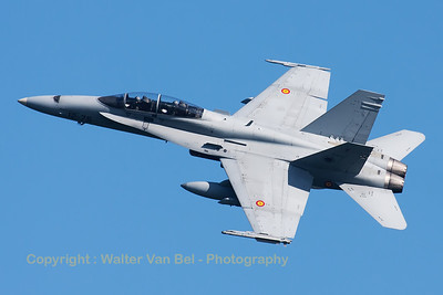 A Spanish Air Force EF-18B Hornet (CE.15-12; 12-75; cn558/B092), seen here banking during a blasting take-off from RWY23 at Leeuwarden AFB, at the start of a mission during FF2015.