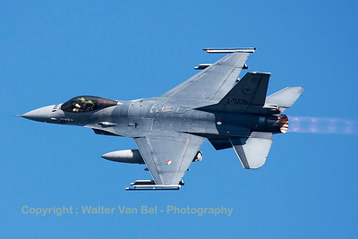 Royal Netherlands Air Force F-16AM (J-508; cn6D-147), nicely banking on take-off from RWY23 at Leeuwarden AFB, at the start of another FF2015 mission.